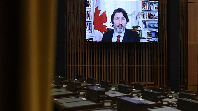 Trudeau appears at Question Period virtually during a sitting of the House of Commons on Feb. 3, 2021 (CP/Adrian Wyld)